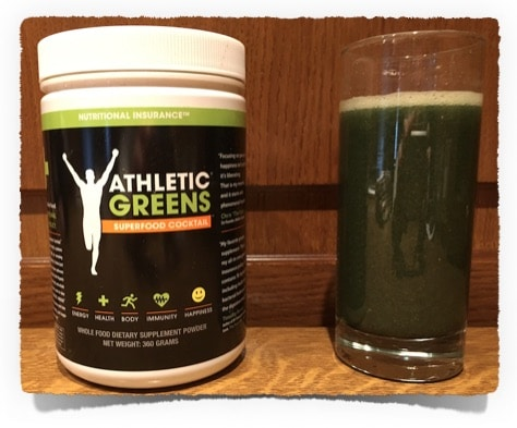 Athletic Greens Shake und Packung
