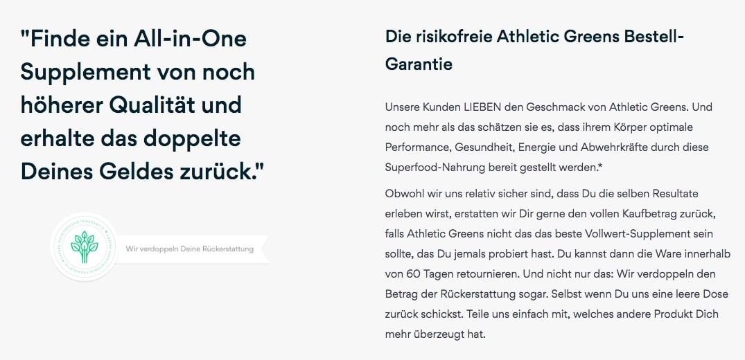 Athletic Greens doppeltes Geld zurueck