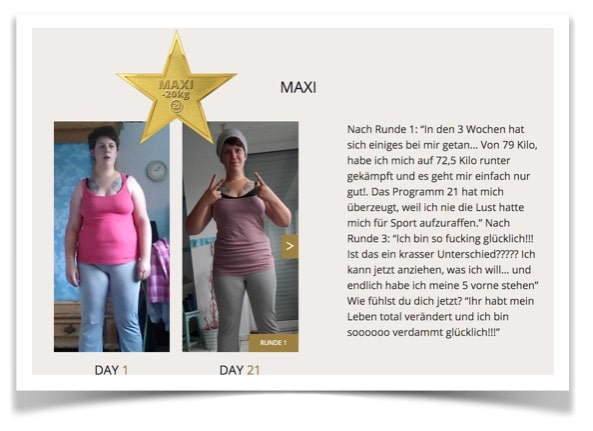 Programm 21 Erfahrungen: Maxi