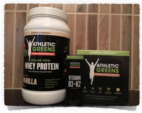 Bild der Athletic Greens Produkte: Whey, Vitamine D3+K2, Superfood Cocktail