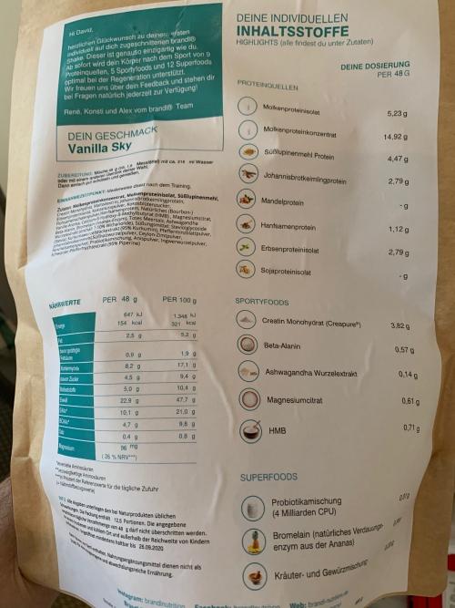 brandl Nutrition Shake Erfahrung Inhalt | kohlenhydrate-tabellen.com